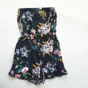 2/$25 Black Floral Print Strapless Romper Size 6